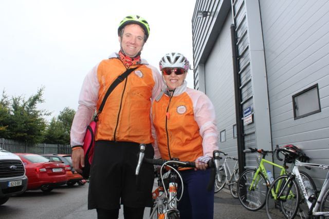 Alan Mahy and Orla Kelly, Bandon, before the start of the Cycle Against Suicide Spinoff in Tralee on Saturday. Photo by Dermot Crean