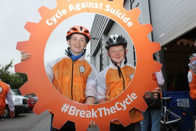 Eoin Herlihy and Donal Daly before the start of the Cycle Against Suicide Spinoff in Tralee on Saturday. Photo by Dermot Crean