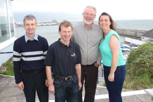 Billy Moriarty, John J Moriarty, Denis Suter and Jennifer Williams at the barbecue in aid of Fenit Lifeboat on Saturday night. Photo by Dermot Crean