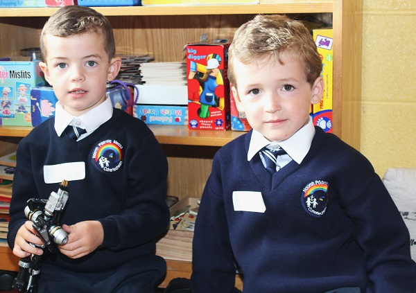 Caherleaheen National School pupils Junior Infant pupils Fionan O'Callaghan and Tadhg Lynch. Photo by Gavin O'Connor.