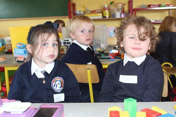 Caherleaheen National School Junior Infant pupils from left Emma O'Donoghue, Harry Diggin and Ryan Egan Moynihan. Photo by Gavin O'Connor.