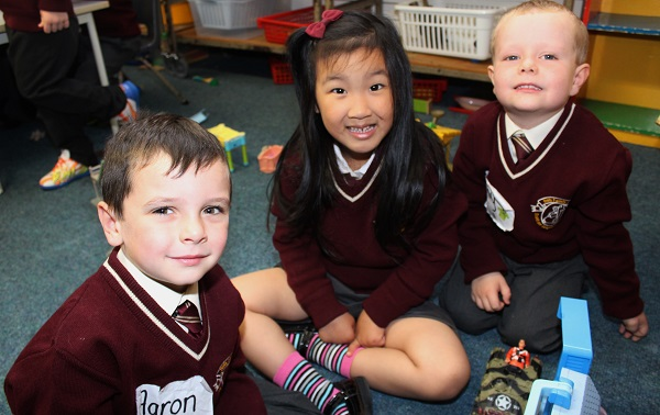 Holy Family junior infant pupils, Aaron O'Sullivan, Summer Zhang and Coby McMahon.