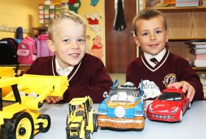 Holy Family junior infant pupils Jan Lange and Stefan Mateusz are bedding well at their new school. Photo by Gavin O'Connor.