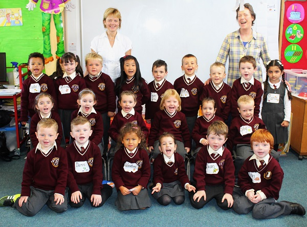 Mrs Morriessey's, junior infant class in Holy Family National School. Photo by Gavin O'Connor.