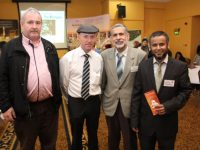 Larry Keane, Michael Healy Rae, Shaban Alomary and Azim Anwarul at the Kerry Islamic Cultural Exhibition on Saturday in the Brandon Hotel. Photo by Dermot Crean