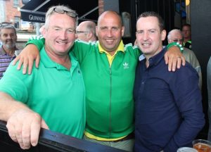 Jim O'Donnell, Joe Collins and Henry Burrows, up for the match on Sunday. Photo by Dermot Crean