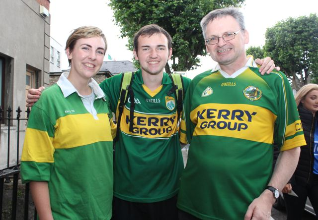 Rachel Lyons, Sean Kennelly and Eoin Kennelly, living in Dublin but with Ballylongford connections, at match on Sunday. Photo by Dermot Crean