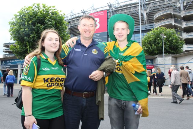 Ella, Mike and Conor Mulcahy, originally Brosna, living in Dublin, at the match on Sunday. Photo by Dermot Crean