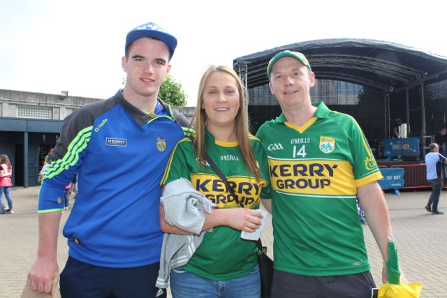 Evan Kissane, Orla O'Sullivan and Will Kissane, up for the match on Sunday. Photo by Dermot Crean