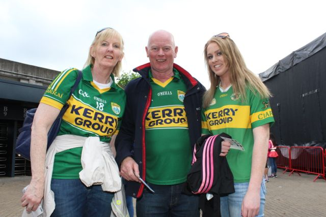 John, Celine and Emer Aherne, Tournafulla, up for the match on Sunday. Photo by Dermot Crean