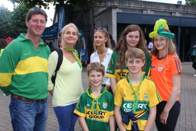 Liam, Charlotte, Billy, Adam, Katie Doyle, Abby Moriarty and Jane Doyle, up for the match on Sunday. Photo by Dermot Crean