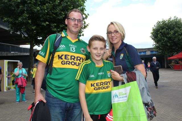 From Derry but shouting for Kerry were Tommy, Shannon and Clodagh Rogers, down for the match on Sunday. Photo by Dermot Crean