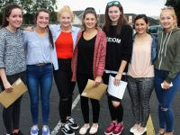 Receiving their Leaving Cert results in  Presentation Secondary School were, from left: Sinead Sheehan, Tara Fitzgerald, Katie Dillon, Eimer McCarthy, Siobhain O'Connor, Sinead Brosnan and Claire Dillion. Photo by Gavin O'Connor.