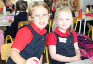 Sinead Spring and Lilly May Fisher on their first day at school at Listellick NS on Wednesday. Photo by Dermot Crean