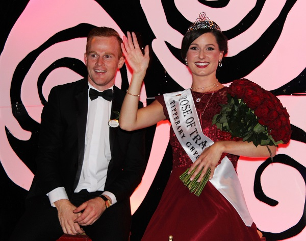 The Rose of Tralee 2016, Maggie McEldowney, makes her triumphant way down Denny Street.