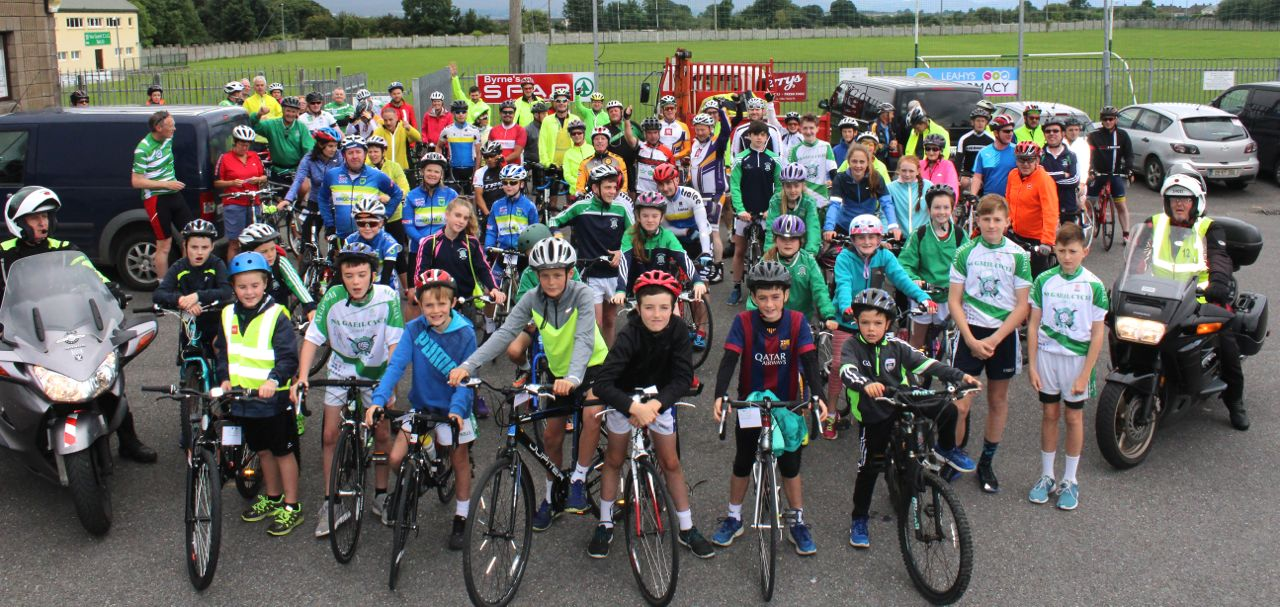 The cyclists gather at the start of the Na Gaeil GAA Club annual cycle on Saturday morning. Photo by Dermot Crean