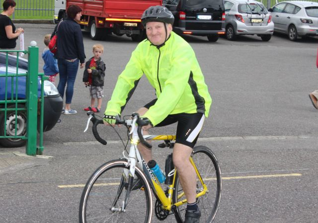 John McAdams setting off at the Na Gaeil GAA Club annual cycle on Saturday morning. Photo by Dermot Crean