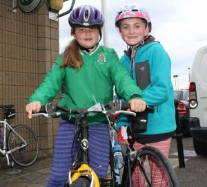 Aoife Barrett and Cara Grealish at the Na Gaeil GAA Club annual cycle on Saturday morning. Photo by Dermot Crean