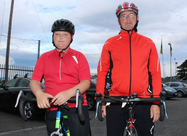 Eoin and John Buckley at the Na Gaeil GAA Club annual cycle on Saturday morning. Photo by Dermot Crean