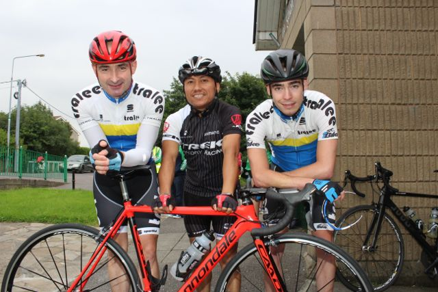 Mike Leahy, John Casabao and Ross Culloty at the Na Gaeil GAA Club annual cycle on Saturday morning. Photo by Dermot Crean