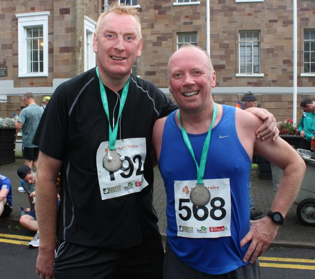 John Chute and Seamus Cadogan at the Rose of Tralee 10k Run on Sunday afternoon. Photo by Dermot Crean
