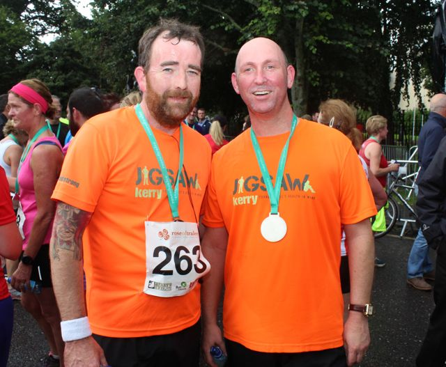 Richard McBride and Mike Brosnan at the Rose of Tralee 10k Run on Sunday afternoon. Photo by Dermot Crean