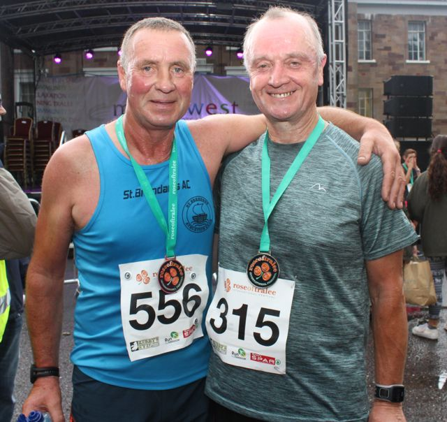 Pat Sheehy and Pat Sullivan at the Rose of Tralee 10k Run on Sunday afternoon. Photo by Dermot Crean