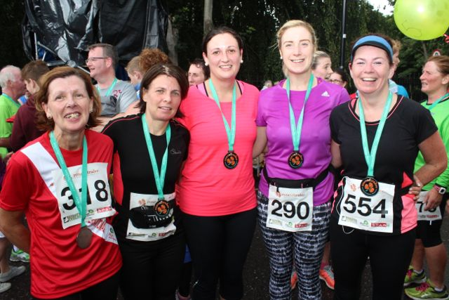 Lucy Fitzell, Rose Brosnan, Laragh Stephens, Edel Broderick and Betty Brosnan at the Rose of Tralee 10k Run on Sunday afternoon. Photo by Dermot Crean