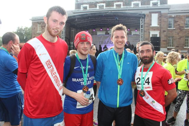 Jason Kelly, Darren Truslove, Fergus Dennehy and Sohaib Syed at the Rose of Tralee 10k Run on Sunday afternoon. Photo by Dermot Crean