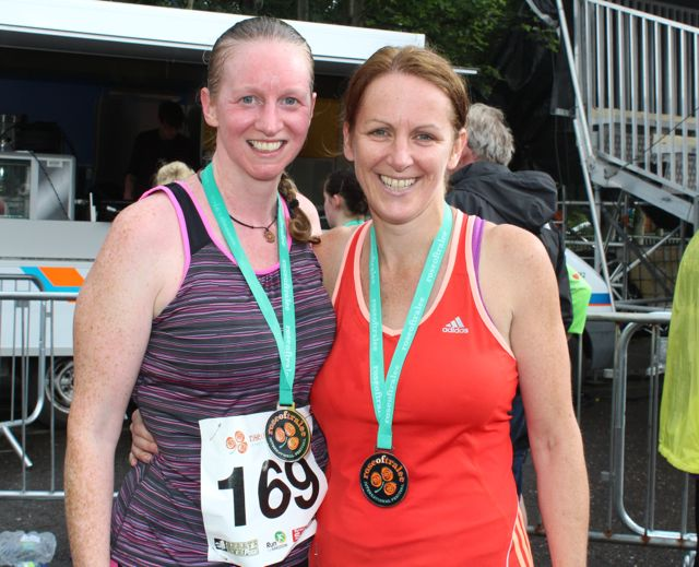 Sandra Byrne and Bridget Moore at the Rose of Tralee 10k Run on Sunday afternoon. Photo by Dermot Crean