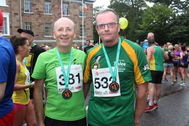 Mike Slattery and Tom Scanlon at the Rose of Tralee 10k Run on Sunday afternoon. Photo by Dermot Crean