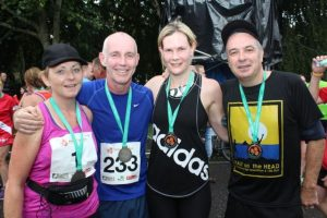 Gina Barrett, Ray Darcy, Marian Godley and Mick Harkin at the Rose of Tralee 10k Run on Sunday afternoon. Photo by Dermot Crean