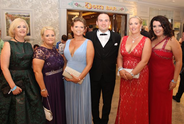Mai Harris, Eleanor Fitzgerald, Mary Harris, William O'Callaghan, Lesley O'Callaghan and Ciara O'Connor at The Rose Hotel before the Rose Ball on Friday evening. Photo by Dermot Crean