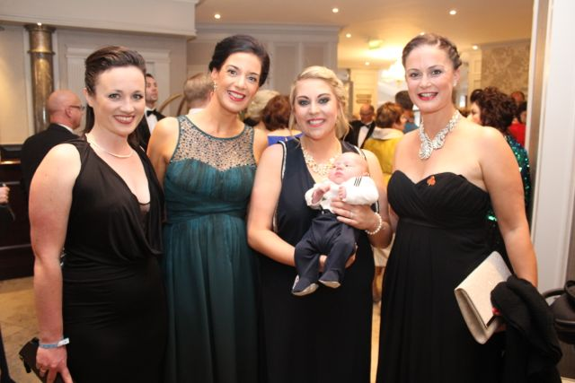 Niamh O'Reilly, Aine Ni Shleibhin, Blathnaid Scullion and Michael Scullion and Trish Carlos at The Rose Hotel before the Rose Ball on Friday evening. Photo by Dermot Crean