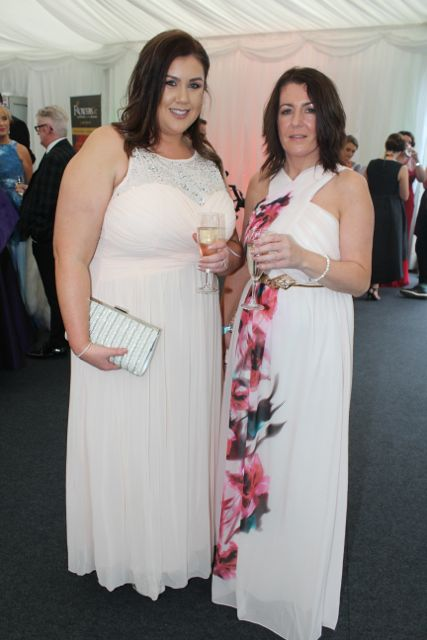 Jennifer Enright and Sharon McGough at the Rose Ball on Friday evening. Photo by Dermot Crean