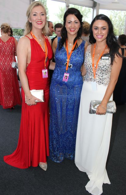 Veronica Hunt, Edel O'Connor and Siobeal Nic Eochaidh at the Rose Ball on Friday evening. Photo by Dermot Crean