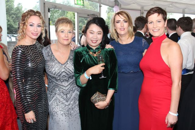 Fiona Leahy, Lisa O'Carroll, Amber Hayden, Leanne Ryan and Siobhan Fitzpatrick at the Rose Ball on Friday evening. Photo by Dermot Crean