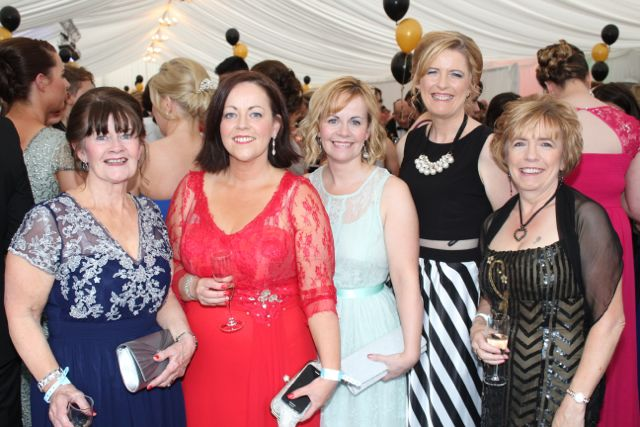 Nada Hobbert, Emer McDaid, Edel Hobbert, Caitriona Hobbert and Joan Cunningham at the Rose Ball on Friday evening. Photo by Dermot Crean