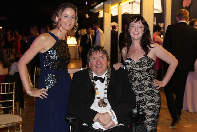 Norma Purtill and Chelsea Thursday Milovanovic with Mayor of Tralee Terry O'Brien at the Rose Ball on Friday evening. Photo by Dermot Crean