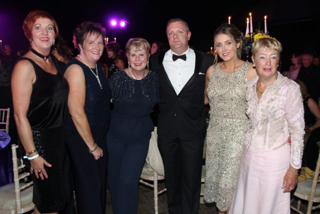 Caroline Riordan, Kathleen Walsh, Lilibeth Horan, Ciaran Curran, Amy Dunlea and Mary Fleming at the Rose Ball on Friday evening. Photo by Dermot Crean