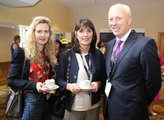 Hallie Vaughan, Helen Vaughan and Diaramuid Leen, AIB, at the International Business Women's Conference in the Brandon Hotel on Monday. Photo by Dermot Crean