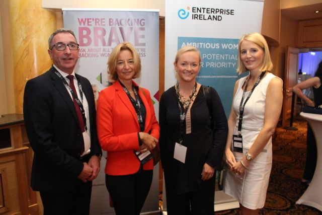 Branch Manager at AIB Tralee, Joe Shannon, with Audrey Lane, Julianne Reen and Mary Rose Cantillon, AIB, at the International Business Women's Conference in the Brandon Hotel on Monday. Photo by Dermot Crean