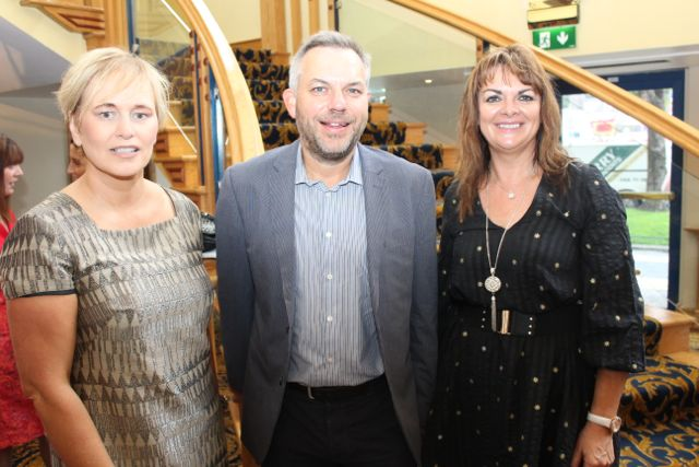 Deirdre Waldron, Fusion Communications, Sean Ryan, Aspen Grove and Eleanor McEvoy, Dragons Den, at the International Business Women's Conference in the Brandon Hotel on Monday. Photo by Dermot Crean