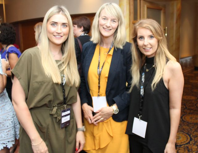 Geraldine Byrne of Mediskin, Mairead Fahy of Mo Leanabh and Mary Rose Simpson from myladybug.ie at the International Business Women's Conference in the Brandon Hotel on Monday. Photo by Dermot Crean