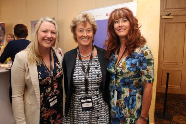 Sarah Boyle, Kitty Bolger, Bolger Fabrication and Tracy Bolger, Tralee Credit Union, at the International Business Women's Conference in the Brandon Hotel on Monday. Photo by Dermot Crean