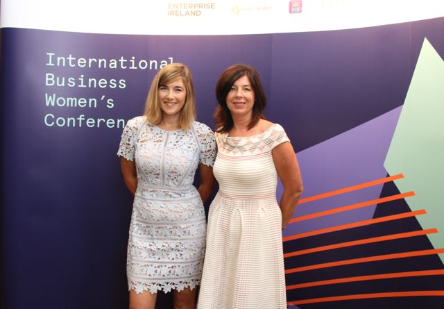 Orla Rimmington and Denise Sidhu of Kernel Capital at the International Business Women's Conference in the Brandon Hotel on Monday. Photo by Dermot Crean