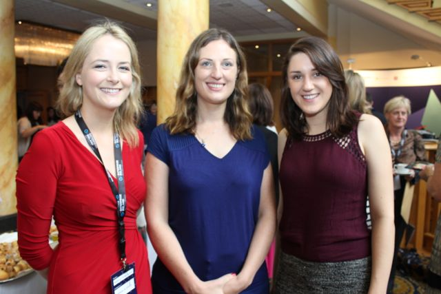 Rebecca Winckworth, Pamela Newenham and Iseult Ward at the International Business Women's Conference in the Brandon Hotel on Monday. Photo by Dermot Crean