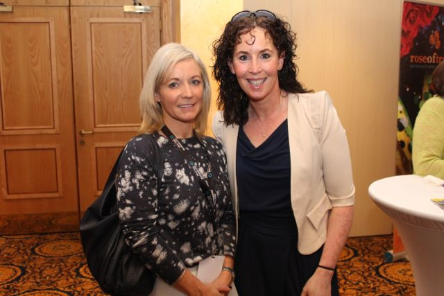 Sarah Fitzgibbon and Mags O'Sullivan at the International Business Women's Conference in the Brandon Hotel on Monday. Photo by Dermot Crean