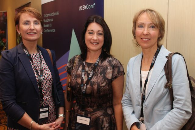 Annette Grealish, Oonagh O'Neill and Mary H Morris at the International Business Women's Conference in the Brandon Hotel on Monday. Photo by Dermot Crean