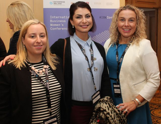 Aideen Ledworth, Naomi O'Connor and Lisa Fitzpatrick at the International Business Women's Conference in the Brandon Hotel on Monday. Photo by Dermot Crean